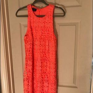 BeBe Bright Pink/ Orange Lace Highneck Dress